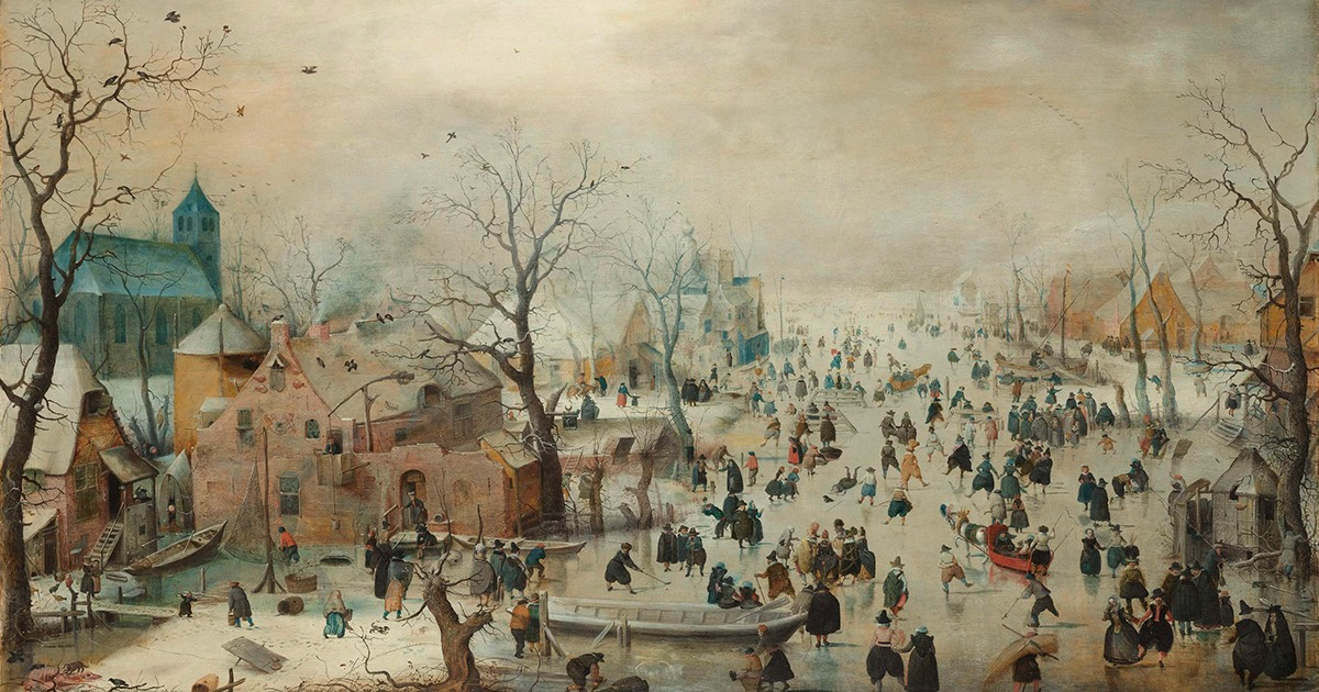 Hendrick Avercamp  Paisaje Invernal Con Patinadores  Hacia 1608