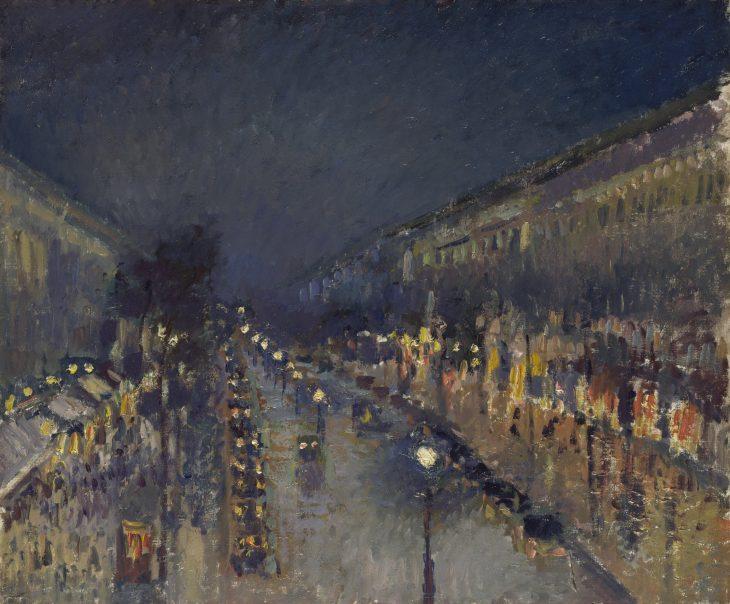Pissarro Boulevard Montmartre a la noche 1897